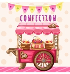 Truck with sweets holiday decoration vector