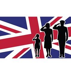 United kingdom soldier family salute vector
