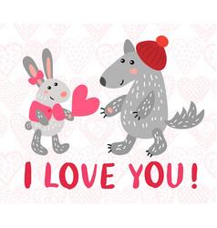 valentine s day greeting card with rabbit and wolf vector image vector image