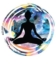 Women silhouette Yoga lotus pose Padmasana vector image vector image