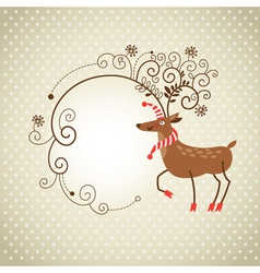 Christmas deer and frame for text vector image