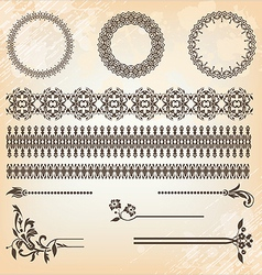 vintage floral pattern elements set vector image