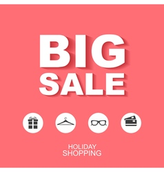Flat style poster big sale with icons vector