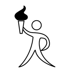 athlete figure human with torch olimpic icon vector image