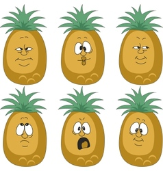 Emotion pineapple set vector