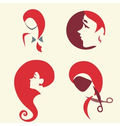 Set of icon with pretty woman faces vector