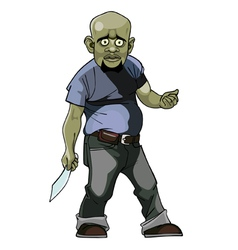 Cartoon goblin man thug with a knife vector