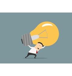 Unhappy businessman carrying the big idea vector image