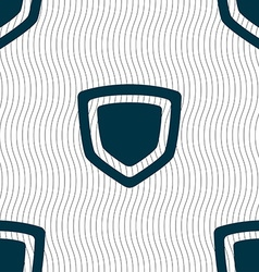 Shield icon sign seamless pattern with geometric vector