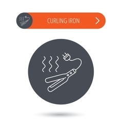 Curling iron icon hairstyle electric tool sign vector