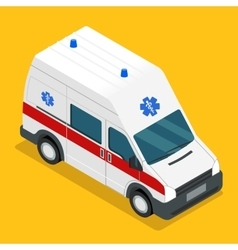 Isometric ambulance carv emergency medical van vector