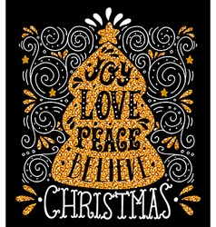Joy love peace believe quote merry christmas hand vector