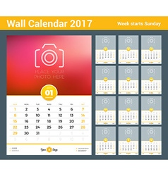 Wall calendar template for 2017 year set of 12 vector