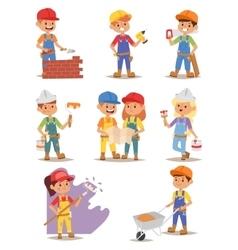 Builders kids set vector image