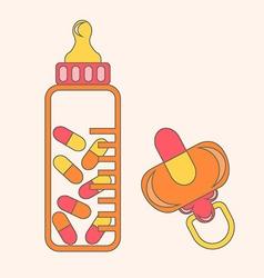 baby pacifier pillls vector image