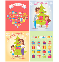 Best wishes on christmas set vector