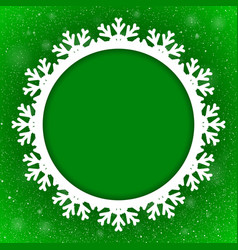 Circle Green Background New Year Snow Snowflake vector image vector image