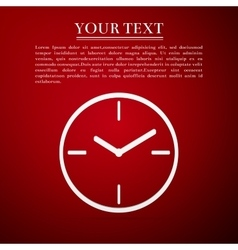 Clock flat icon on red background Adobe vector image