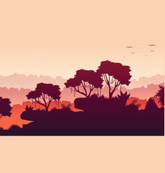 Collection rain forest scenery silhouette vector