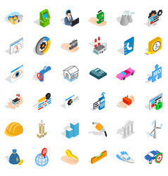 Concern icons set isometric style vector