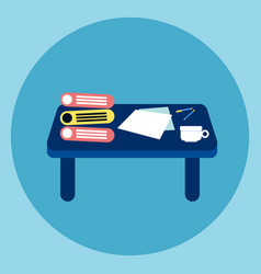 desk icon workplace business table concept vector image