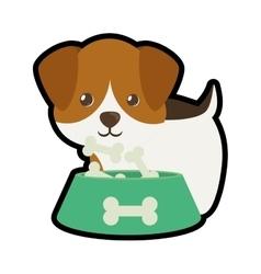 dog little portrait lovely bowl food b print vector image