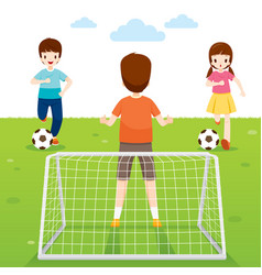 Father son and daughter playing football game vector