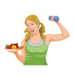 Fit woman posing with dumbbell and fruit vector