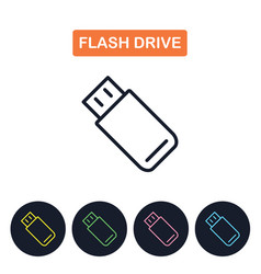 Flash drive icon simple thin line image vector