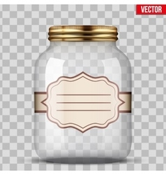 Glass jar for canning with label vector