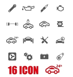 grey car service icon set vector image vector image