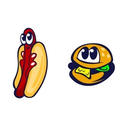 Hamburger and hot dog vector image