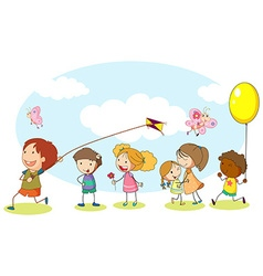 Happy kids playing in the garden vector