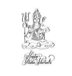 Happy Maha Shivratri black and white line art vector image vector image
