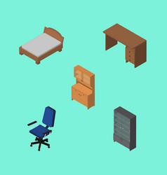 Isometric design set of cupboard bedstead table vector