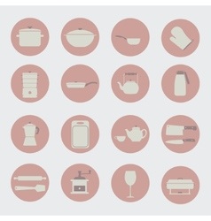Kitchen tools and utencils icons vector image