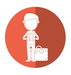 Man with travel bag and map shadow vector