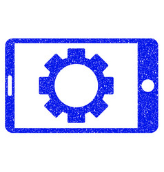 Mobile settings gear grunge icon vector