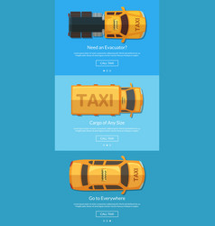 order taxi app screens with different taxi vector image