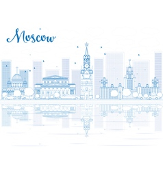 Outline moscow skyline with blue landmarks vector