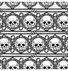 Pattern with ethnic stripes with skulls vector