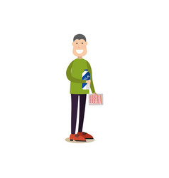 People shopping in flat style vector