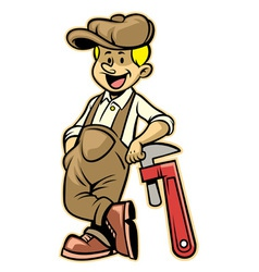 Plumber lean over the plumb wrench vector