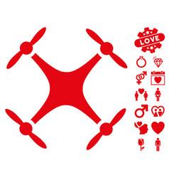 Quadcopter icon with valentine bonus vector