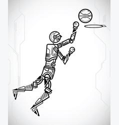 robot playing basketball vector image