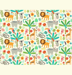 seamless pattern with jungle animals vector image vector image