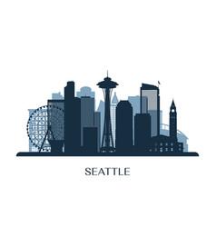 seattle skyline monochrome silhouette vector image vector image