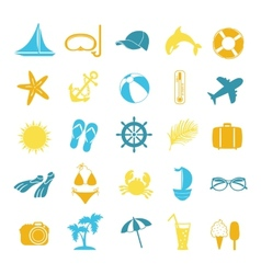 set of colored icons for summer vector image vector image