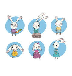 set of cute cartoon bunny vector image
