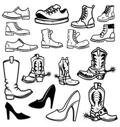 set of the shoes icons design elements for logo vector image